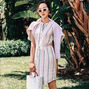 NEW Splendid Picnic Stripe Buttoned Midi Dress